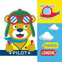 bear pilot Cartoon  vector