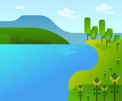 Cartoon Flat Video Game Style Landscape