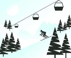Flat Minimalist Style Skier in Mountain