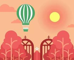 Cartoon Hot Air Balloon Over Park Gate