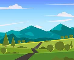 Cartoon Path Through Field and Mountains