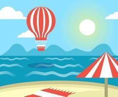 Cartoon Flat Style Hot Air Balloon Over Ocean