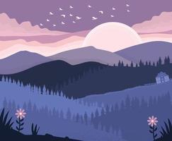 Purple Sunset Over The Mountain