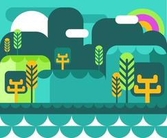 Cartoon Jungle en zee landschap