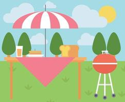 Flat Cartoon Picnic Scene