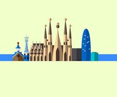 Cartoon Style Gaudi Barcelona Cathedral