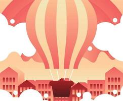 Hot Air Balloon Flying Over Buildings