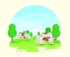 Cartoon Cows on the Farm