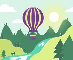 Hot Air Balloons Over Mountain and River
