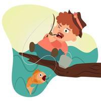 Uomo dei baffi su una pesca dell'albero