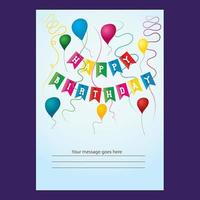 Diseño colorido de la tarjeta de cumpleaños de los globos de la cinta