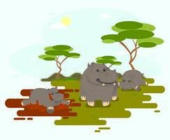 Happy Hippo In Jungle