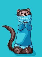 Brown ferret in a blue sweater being cold.