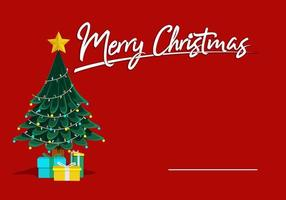 Feliz Navidad tarjeta de felicitación con árbol y regalos vector