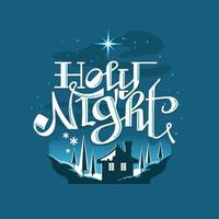 Holy night Snowy Christmas Scene