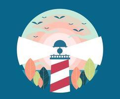 Circular lighthouse design with birds