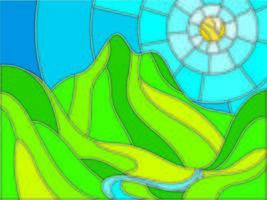 Effetto vetro colorato Montagne e design del sole