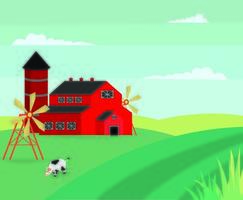 Stile piano Cartoon Farm Landscape