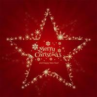 shiny snowflakes creative christmas star on red background