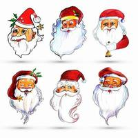 Set of watercolor merry Santa Claus six images