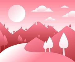 Estilo minimalista rosa dos desenhos animados paisagem de montanha