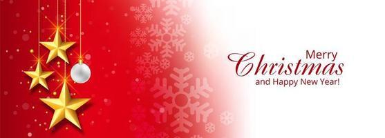 Navidad estrellas decorativas banner fondo rojo