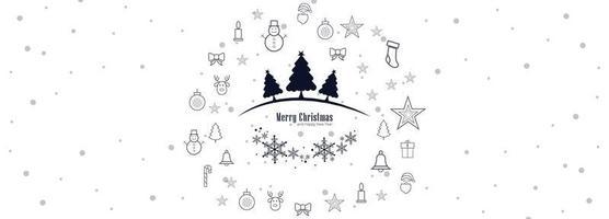 Vector de fondo horizontal de banner de feliz Navidad