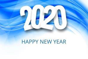 Fondo de celebración de texto de año nuevo azul 2020 vector