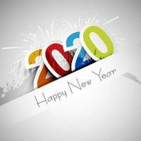 Diseño de tarjeta de celebración de texto de feliz año nuevo 2020 vector
