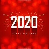 New Year red 2020 text greeting card