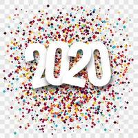 Diseño de saludo de confeti creativo de año nuevo 2020 vector