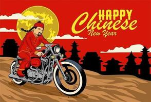 Chinese new year greeting card with Man in traditional clothes riding motorcycle