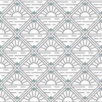 simple sunset and diamond artdeco pattern vector