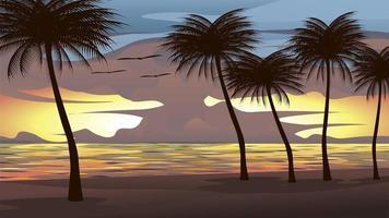 Illustrazione della spiaggia, mare, cielo al tramonto Con alberi di cocco e uccelli che volano