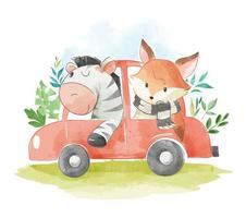 animal friends in a car