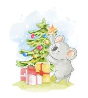 Koala Decorating Christmas Tree  vector