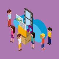 isometric people and creative process icons vector