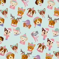 dog merry christmas card pattern