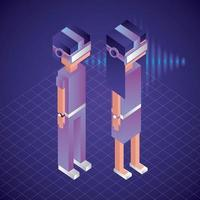 virtual reality isometric characters vector