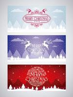 set of merry christmas card vector