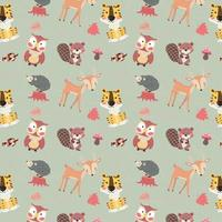 cute woodland animals character autumn season seamless background vector