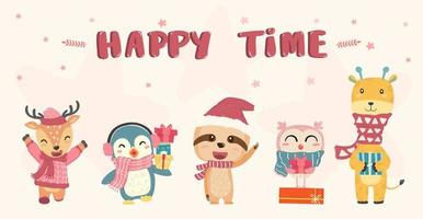 Happy cute wild animals in winter christmas costume vector
