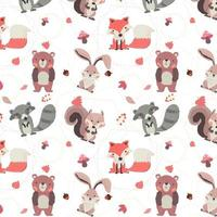 woodland animals autumn season fox, raccoon, squirrel, rabbit and bear seamless pattern