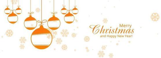 Bola decorativa de Navidad con copos de nieve banner