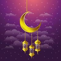 ramadan kareem golden lanterns and moon hanging