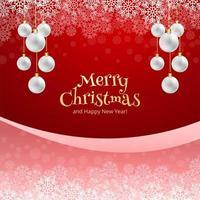 Merry Christmas ball and snowflakes celebration