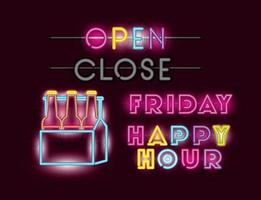 happy hour con cervezas botellas en canasta fuentes luces de neón vector