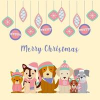 Dogs merry christmas card