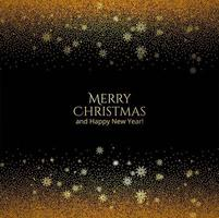 Merry Christmas card shiny golden glitters background