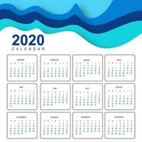 Abstract 2020 calendar in wave design vector